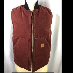 Carhartt Mens Maroon M Reg V Cotton Lined Vest